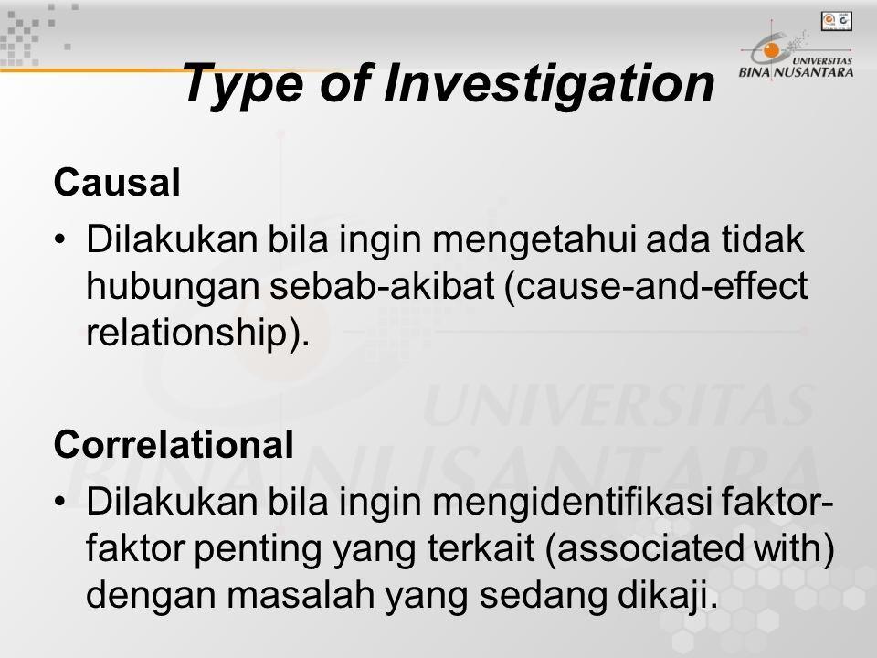 Type of Investigation Causal Dilakukan bila ingin mengetahui ada tidak hubungan sebab-akibat (cause-and-effect relationship). Correlational Dilakukan