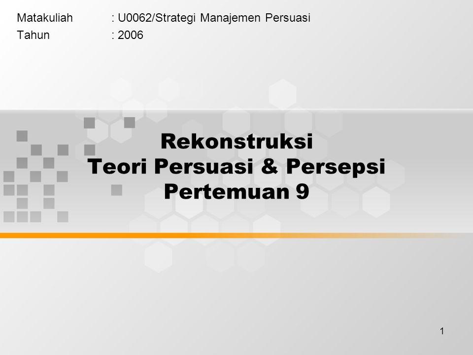 1 Rekonstruksi Teori Persuasi & Persepsi Pertemuan 9 Matakuliah: U0062/Strategi Manajemen Persuasi Tahun: 2006