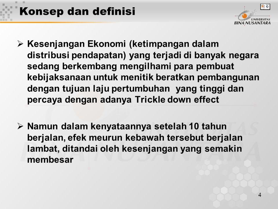 4 Konsep dan definisi  Kesenjangan Ekonomi (ketimpangan dalam distribusi pendapatan) yang terjadi di banyak negara sedang berkembang mengilhami para pembuat kebijaksanaan untuk menitik beratkan pembangunan dengan tujuan laju pertumbuhan yang tinggi dan percaya dengan adanya Trickle down effect  Namun dalam kenyataannya setelah 10 tahun berjalan, efek meurun kebawah tersebut berjalan lambat, ditandai oleh kesenjangan yang semakin membesar