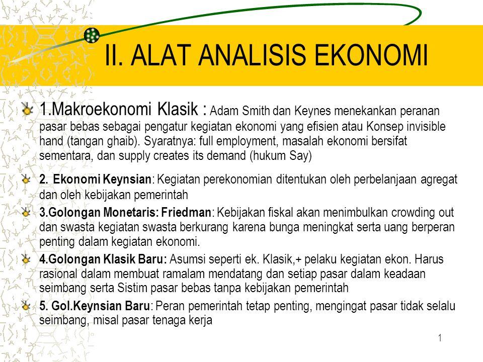 1 II. ALAT ANALISIS EKONOMI 1.Makroekonomi Klasik : Adam Smith dan Keynes menekankan peranan pasar bebas sebagai pengatur kegiatan ekonomi yang efisie