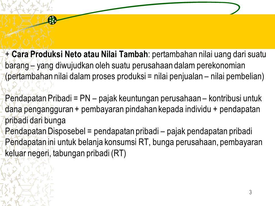3 + Cara Produksi Neto atau Nilai Tambah : pertambahan nilai uang dari suatu barang – yang diwujudkan oleh suatu perusahaan dalam perekonomian (pertam
