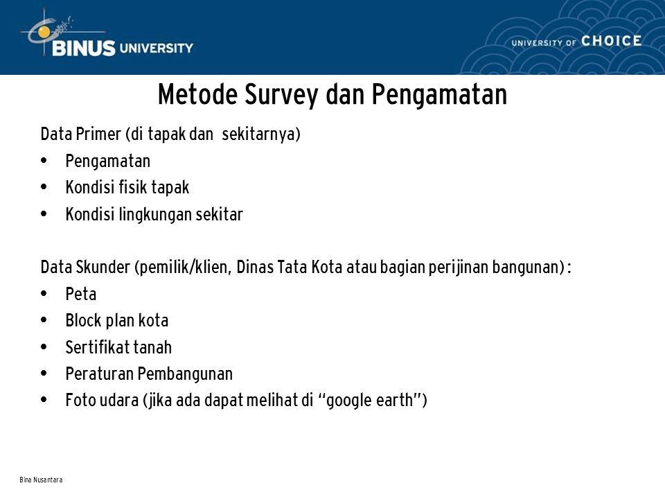 Bina Nusantara Data Primer (di tapak dan sekitarnya) Pengamatan Kondisi fisik tapak Kondisi lingkungan sekitar Data Skunder (pemilik/klien, Dinas Tata