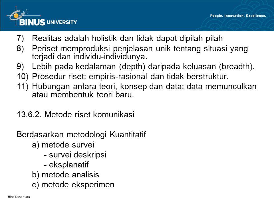 Bina Nusantara 7) Realitas adalah holistik dan tidak dapat dipilah-pilah 8)Periset memproduksi penjelasan unik tentang situasi yang terjadi dan individu-individunya.