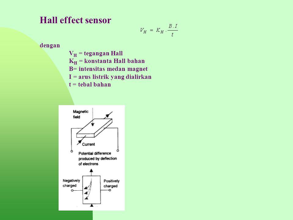 Hall effect sensor dengan V H = tegangan Hall K H = konstanta Hall bahan B= intensitas medan magnet I = arus listrik yang dialirkan t = tebal bahan
