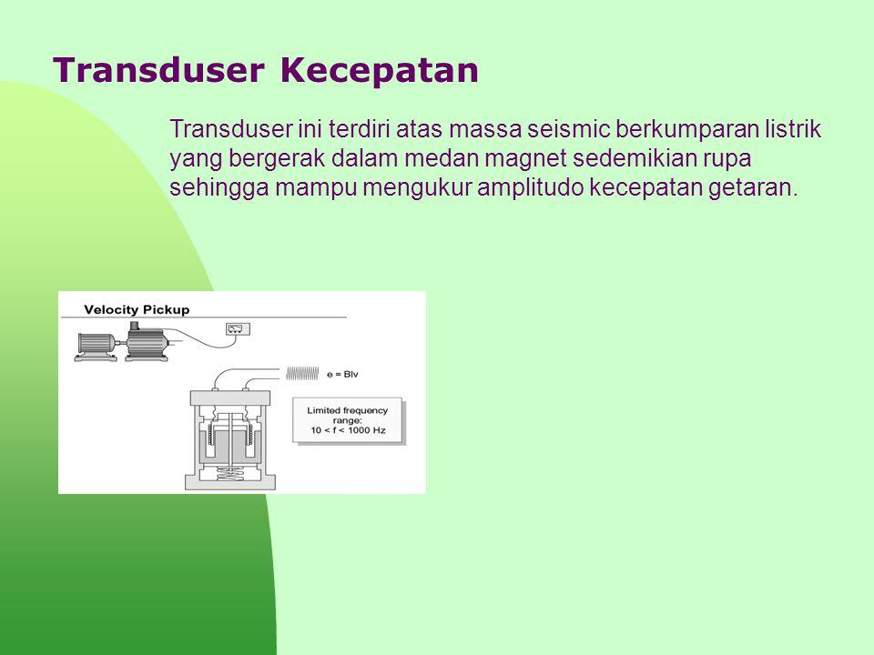 Transduser Kecepatan Transduser ini terdiri atas massa seismic berkumparan listrik yang bergerak dalam medan magnet sedemikian rupa sehingga mampu men