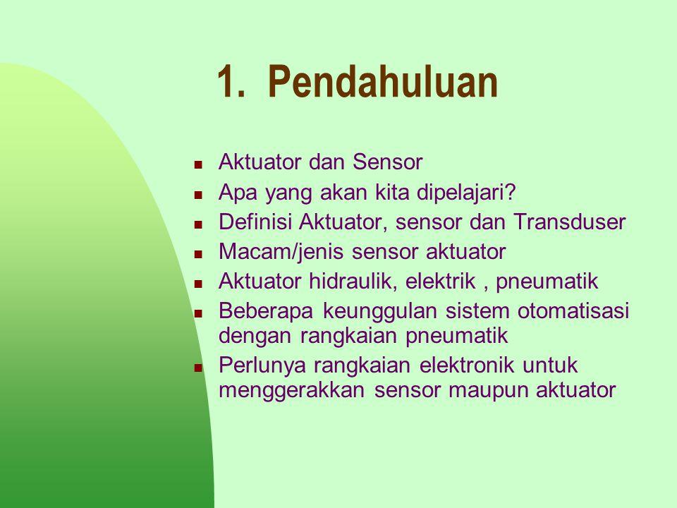 1. Pendahuluan Aktuator dan Sensor Apa yang akan kita dipelajari? Definisi Aktuator, sensor dan Transduser Macam/jenis sensor aktuator Aktuator hidrau