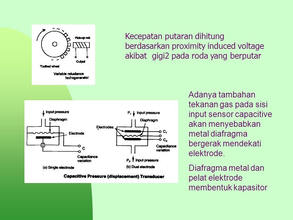 Kecepatan putaran dihitung berdasarkan proximity induced voltage akibat gigi2 pada roda yang berputar Adanya tambahan tekanan gas pada sisi input sens