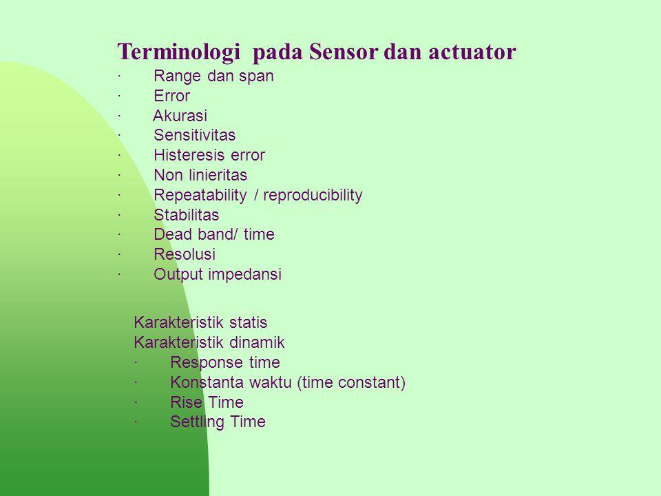 Terminologi pada Sensor dan actuator · Range dan span · Error · Akurasi · Sensitivitas · Histeresis error · Non linieritas · Repeatability / reproduci