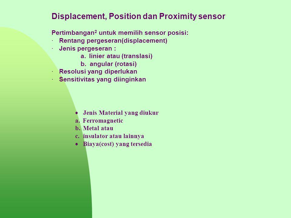 Displacement, Position dan Proximity sensor Pertimbangan 2 untuk memilih sensor posisi: · Rentang pergeseran(displacement) · Jenis pergeseran : a. lin