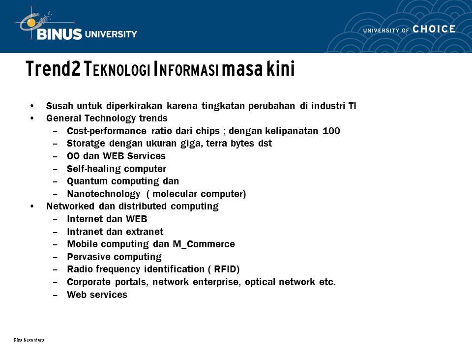 Bina Nusantara Trend2 T EKNOLOGI I NFORMASI masa kini Susah untuk diperkirakan karena tingkatan perubahan di industri TI General Technology trends –Co