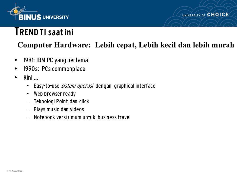 Bina Nusantara 1981: IBM PC yang pertama 1990s: PCs commonplace Kini...