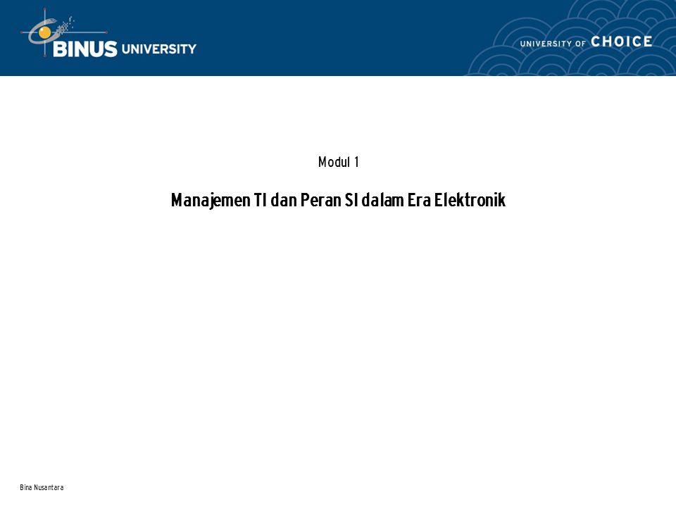 Bina Nusantara Modul 1 Manajemen TI dan Peran SI dalam Era Elektronik