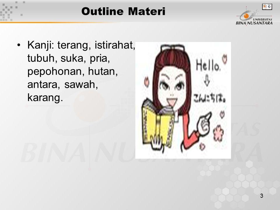 3 Outline Materi Kanji: terang, istirahat, tubuh, suka, pria, pepohonan, hutan, antara, sawah, karang.