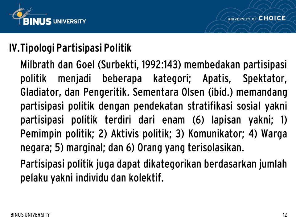 BINUS UNIVERSITY12 IV. Tipologi Partisipasi Politik Milbrath dan Goel (Surbekti, 1992:143) membedakan partisipasi politik menjadi beberapa kategori; A