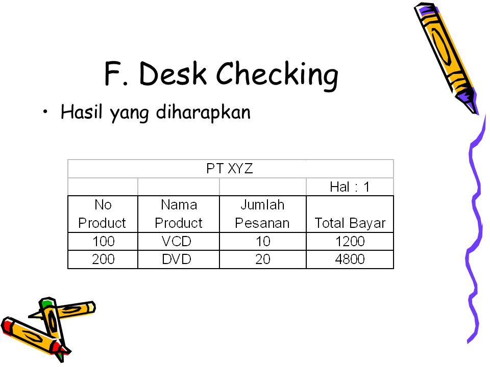 F. Desk Checking Hasil yang diharapkan