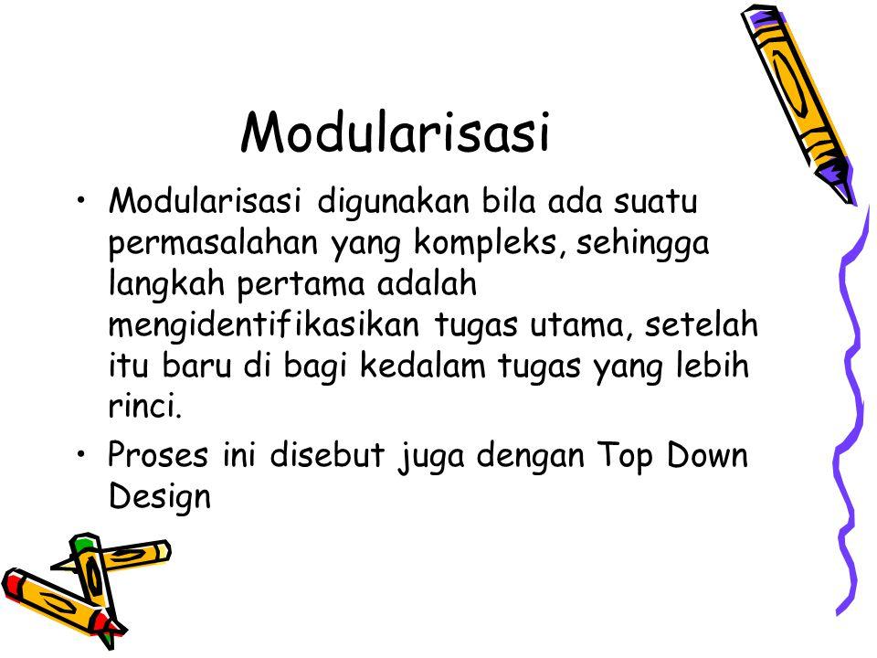 Modularisasi Modularisasi digunakan bila ada suatu permasalahan yang kompleks, sehingga langkah pertama adalah mengidentifikasikan tugas utama, setela