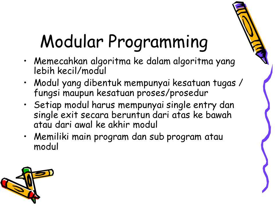 Modular Programming Memecahkan algoritma ke dalam algoritma yang lebih kecil/modul Modul yang dibentuk mempunyai kesatuan tugas / fungsi maupun kesatu