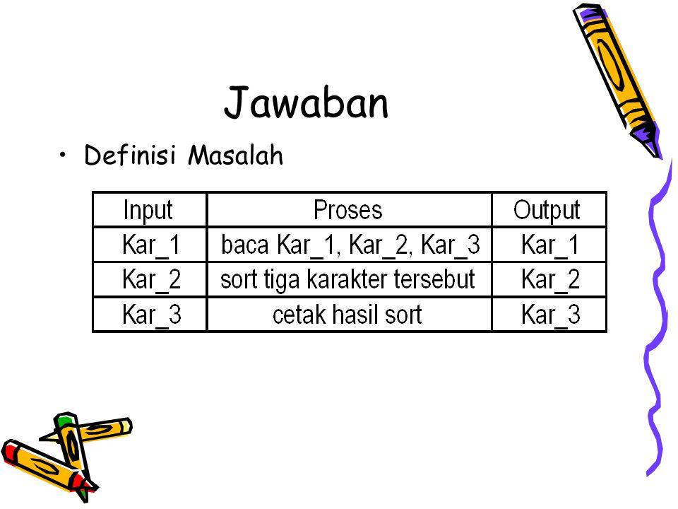 Algoritma Pemecahan Dapat dibuat penyelesaian dengan modul sbb: Baca_tiga_karakter baca kar_1, kar_2, kar_3 DO WHILE NOT (Kar_1 = X AND Kar_2= X AND Kar_3 = X) sort_tiga_karakter cetak kar_1,kar_2, kar_3 baca kar_1, kar_2, kar_3 ENDDO END