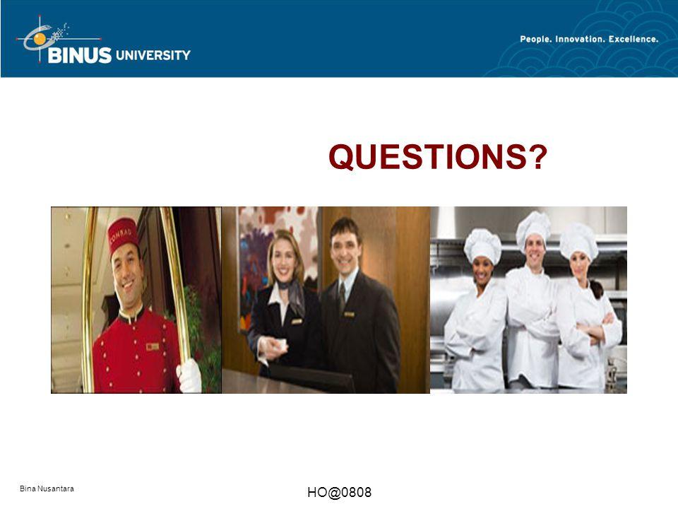 Bina Nusantara HO@0808 Review Questions 6  Name basic elements of F&B operations.