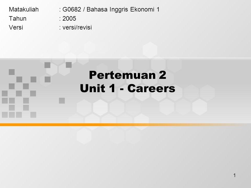 1 Pertemuan 2 Unit 1 - Careers Matakuliah: G0682 / Bahasa Inggris Ekonomi 1 Tahun: 2005 Versi: versi/revisi