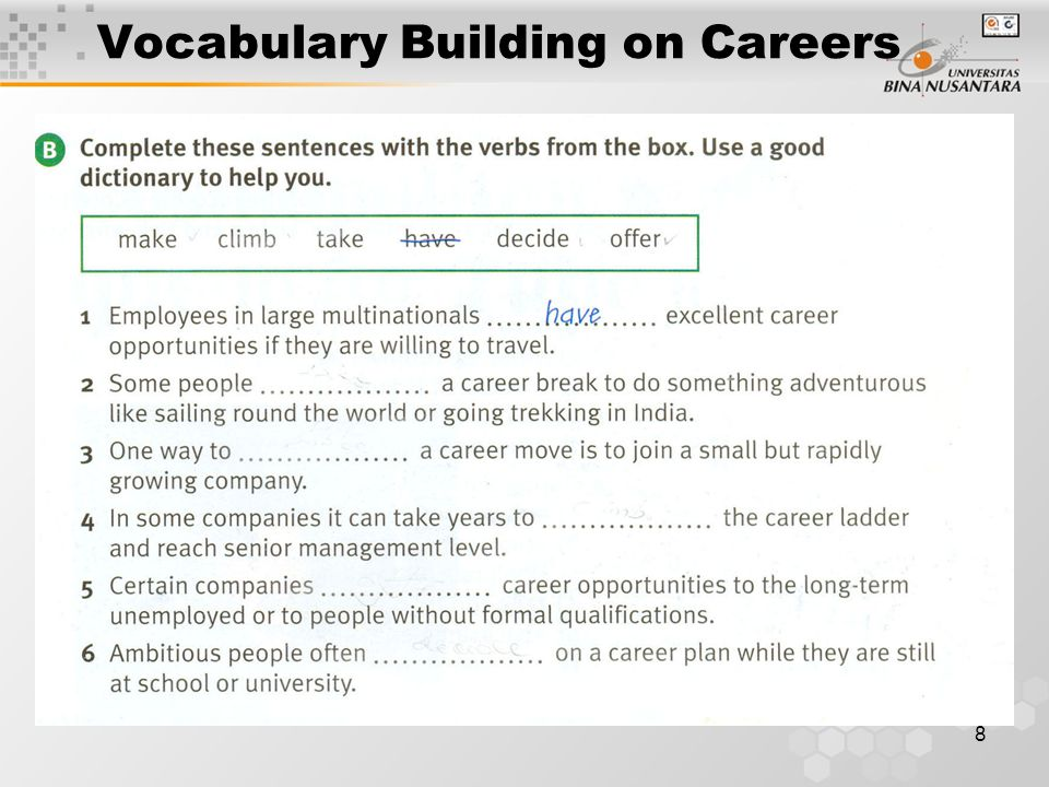 8 Vocabulary Building on Careers
