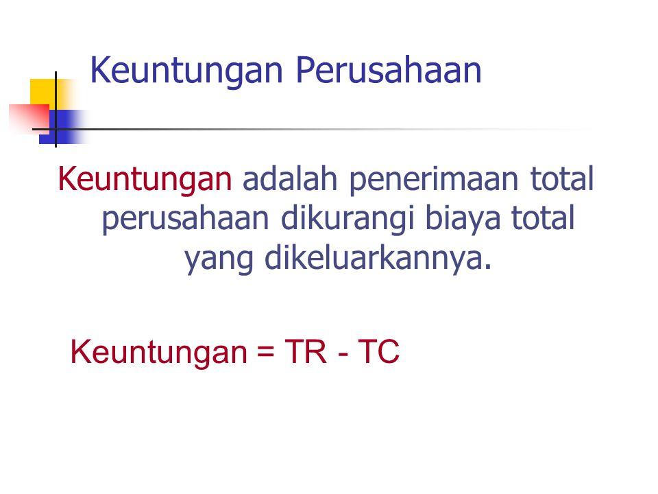 Keuntungan Perusahaan Keuntungan adalah penerimaan total perusahaan dikurangi biaya total yang dikeluarkannya. Keuntungan = TR - TC