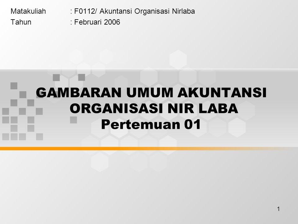1 GAMBARAN UMUM AKUNTANSI ORGANISASI NIR LABA Pertemuan 01 Matakuliah: F0112/ Akuntansi Organisasi Nirlaba Tahun: Februari 2006