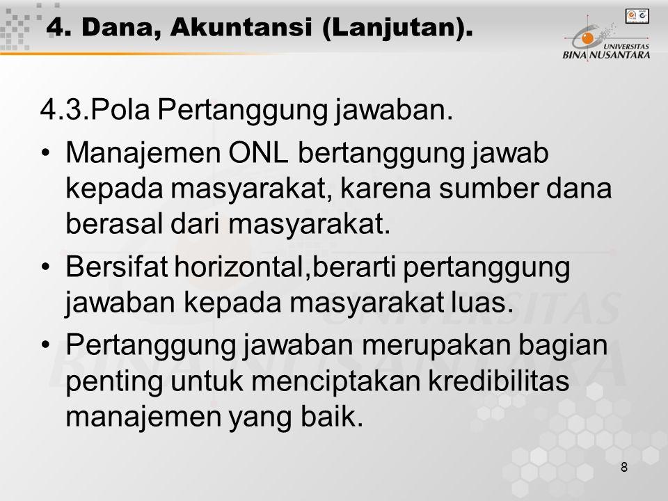 8 4. Dana, Akuntansi (Lanjutan). 4.3.Pola Pertanggung jawaban. Manajemen ONL bertanggung jawab kepada masyarakat, karena sumber dana berasal dari masy