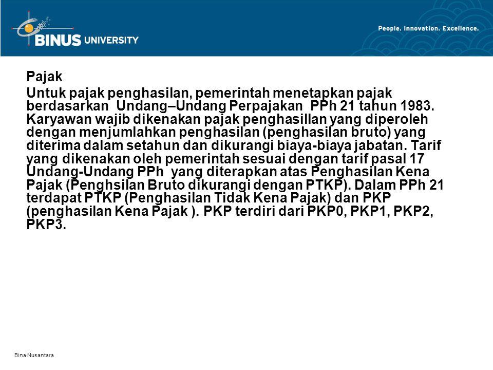 Bina Nusantara Pajak Untuk pajak penghasilan, pemerintah menetapkan pajak berdasarkan Undang–Undang Perpajakan PPh 21 tahun 1983. Karyawan wajib diken