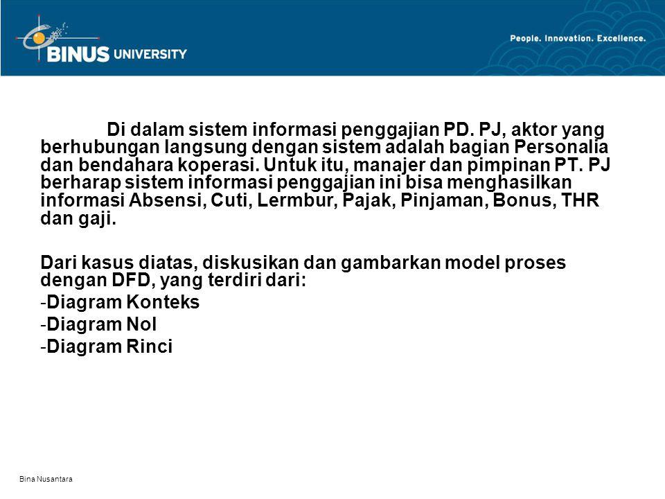 Bina Nusantara Di dalam sistem informasi penggajian PD. PJ, aktor yang berhubungan langsung dengan sistem adalah bagian Personalia dan bendahara koper
