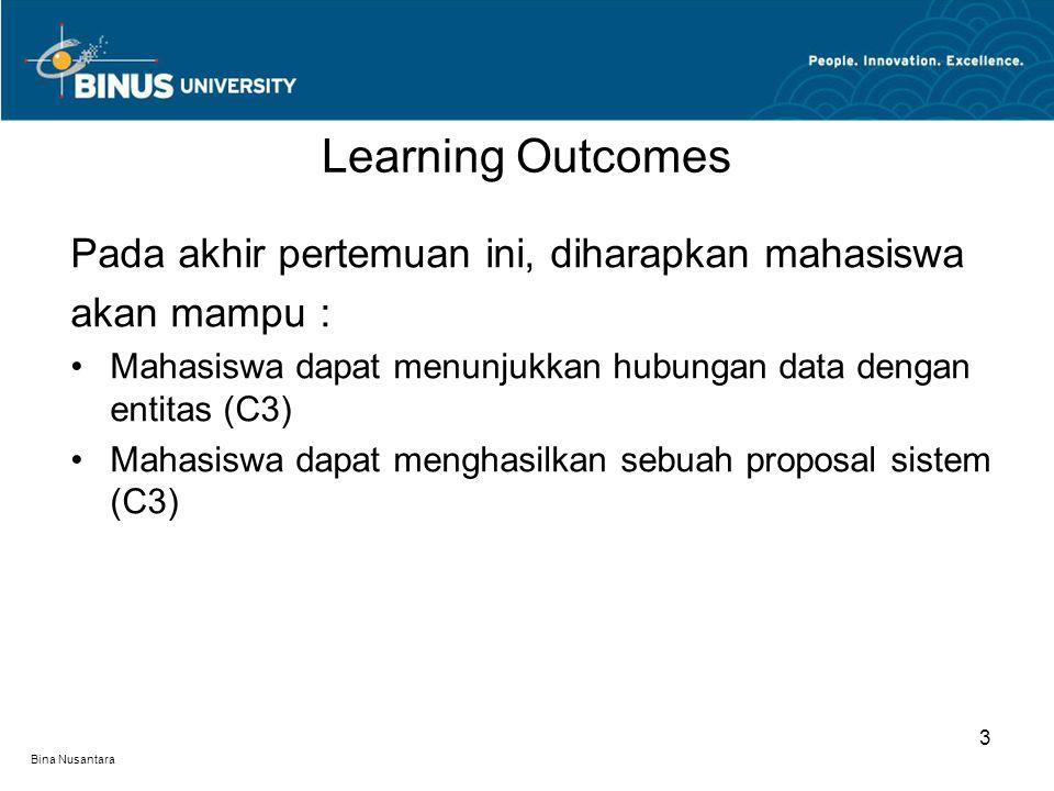 Bina Nusantara Pada akhir pertemuan ini, diharapkan mahasiswa akan mampu : Mahasiswa dapat menunjukkan hubungan data dengan entitas (C3) Mahasiswa dap