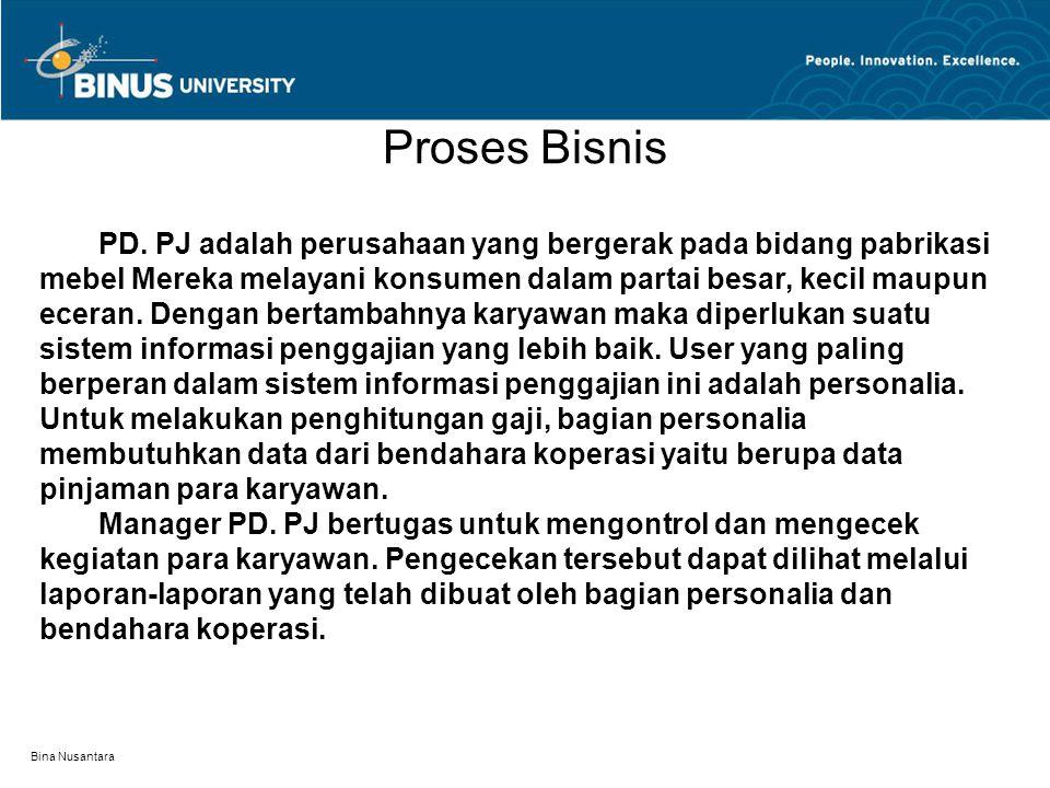 Bina Nusantara Proses Bisnis PD. PJ adalah perusahaan yang bergerak pada bidang pabrikasi mebel Mereka melayani konsumen dalam partai besar, kecil mau