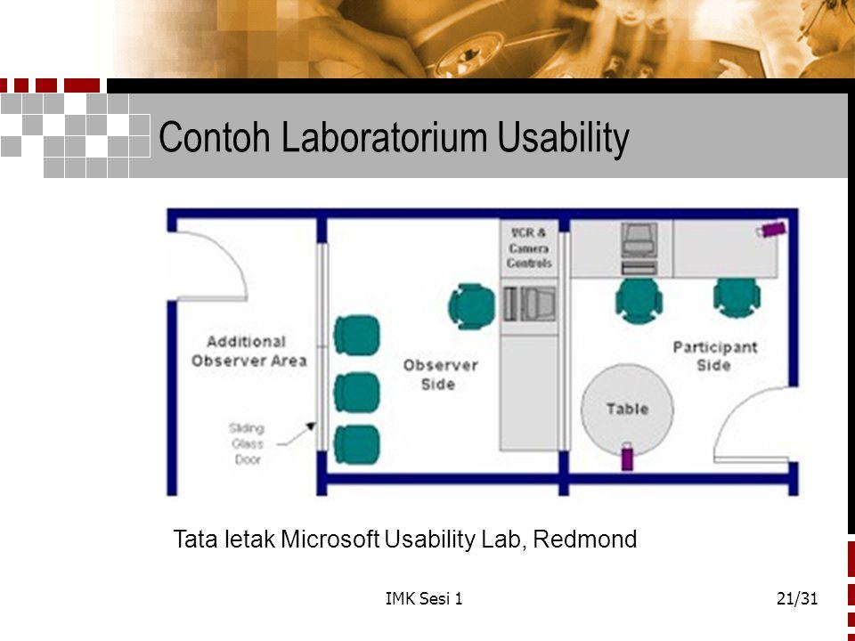 IMK Sesi 121/31 Contoh Laboratorium Usability Tata letak Microsoft Usability Lab, Redmond