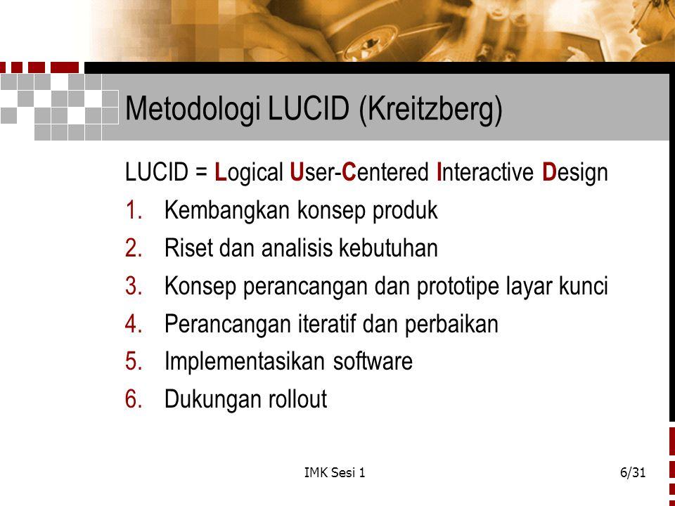 IMK Sesi 16/31 Metodologi LUCID (Kreitzberg) LUCID = L ogical U ser- C entered I nteractive D esign 1.Kembangkan konsep produk 2.Riset dan analisis ke
