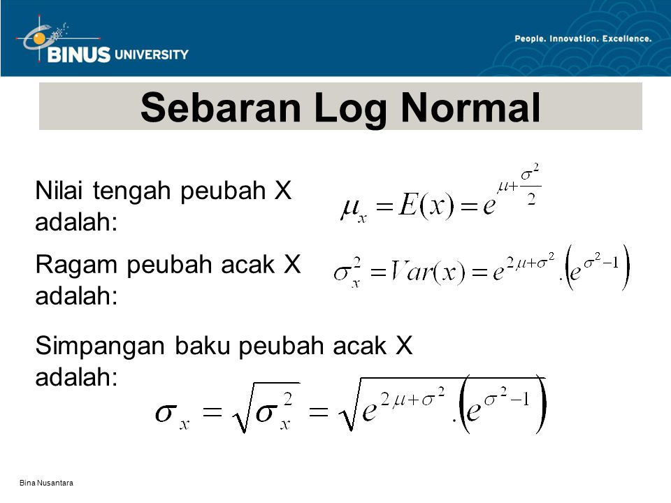 Bina Nusantara Sebaran Log Normal Nilai tengah peubah X adalah: Ragam peubah acak X adalah: Simpangan baku peubah acak X adalah: