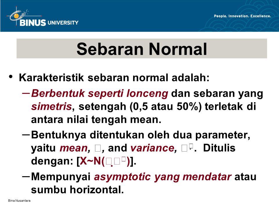 Bina Nusantara Karakteristik sebaran normal adalah: – Berbentuk seperti lonceng dan sebaran yang simetris, setengah (0,5 atau 50%) terletak di antara nilai tengah mean.