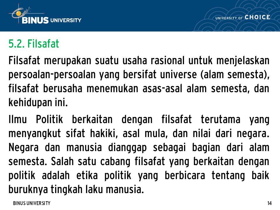 BINUS UNIVERSITY14 5.2. Filsafat Filsafat merupakan suatu usaha rasional untuk menjelaskan persoalan-persoalan yang bersifat universe (alam semesta),