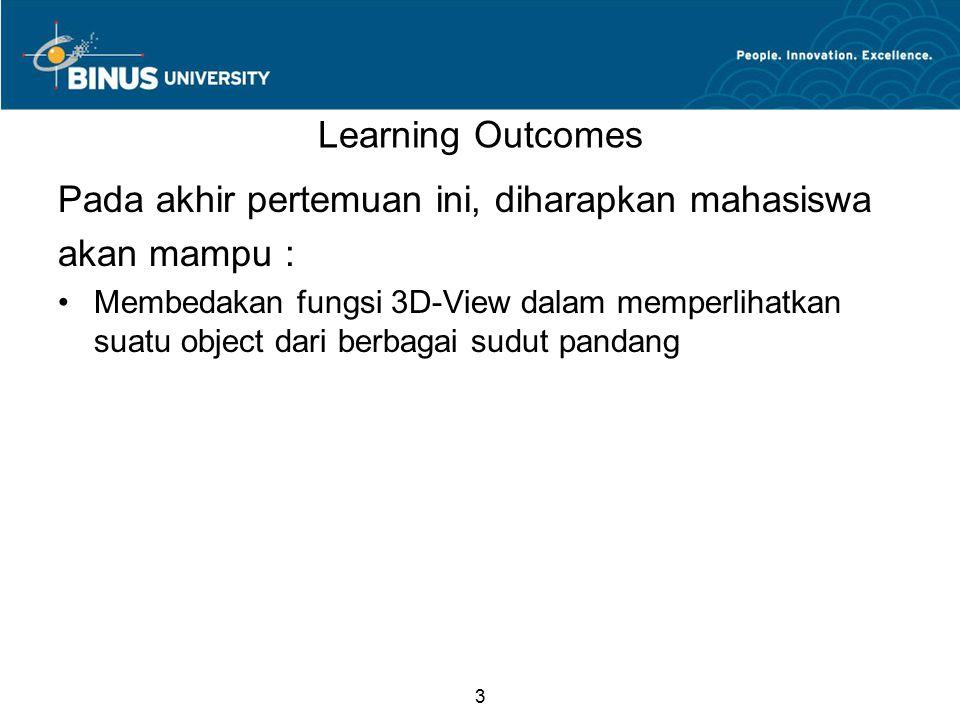 3 Learning Outcomes Pada akhir pertemuan ini, diharapkan mahasiswa akan mampu : Membedakan fungsi 3D-View dalam memperlihatkan suatu object dari berbagai sudut pandang