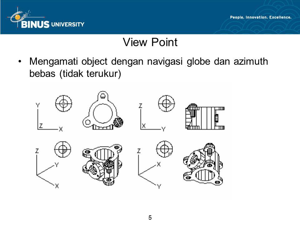 5 View Point Mengamati object dengan navigasi globe dan azimuth bebas (tidak terukur)