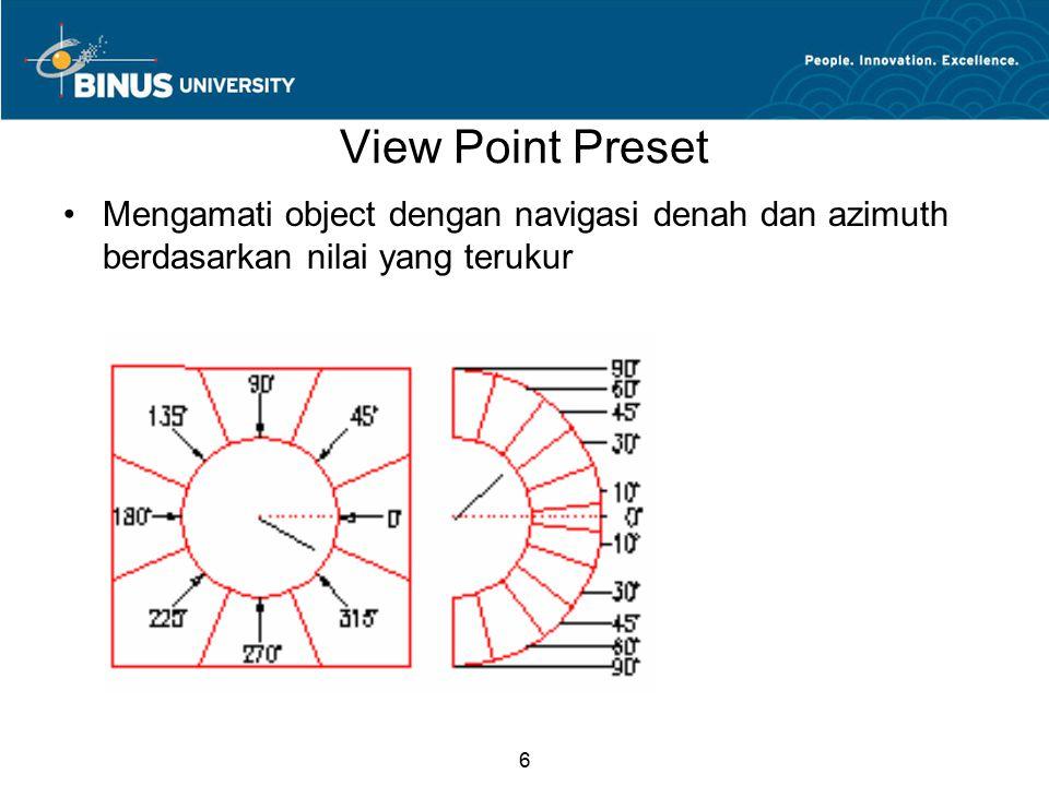 6 View Point Preset Mengamati object dengan navigasi denah dan azimuth berdasarkan nilai yang terukur