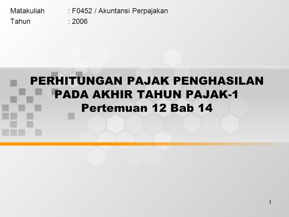 1 PERHITUNGAN PAJAK PENGHASILAN PADA AKHIR TAHUN PAJAK-1 Pertemuan 12 Bab 14 Matakuliah: F0452 / Akuntansi Perpajakan Tahun: 2006