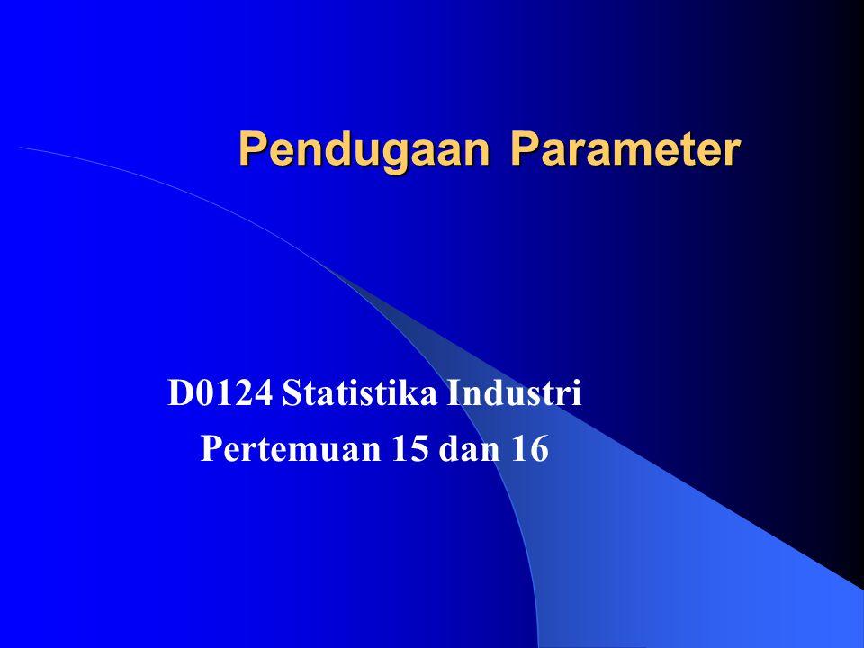 Pendugaan Nilai Tengah Salah satu penduga titik bagi nilai tengah populasi µ adalah statistik X.