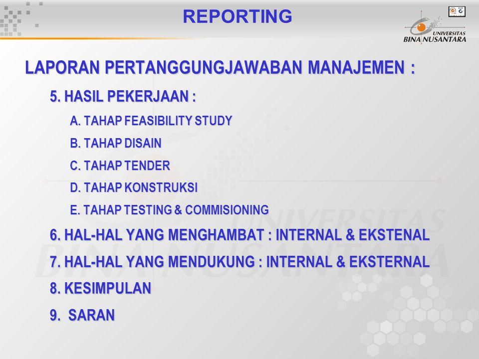 REPORTING LAPORAN PERTANGGUNGJAWABAN MANAJEMEN : 5. HASIL PEKERJAAN : A. TAHAP FEASIBILITY STUDY B. TAHAP DISAIN C. TAHAP TENDER D. TAHAP KONSTRUKSI E