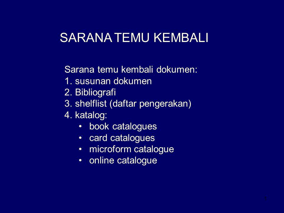 1 SARANA TEMU KEMBALI Sarana temu kembali dokumen: 1.susunan dokumen 2.Bibliografi 3.shelflist (daftar pengerakan) 4.katalog: book catalogues card cat
