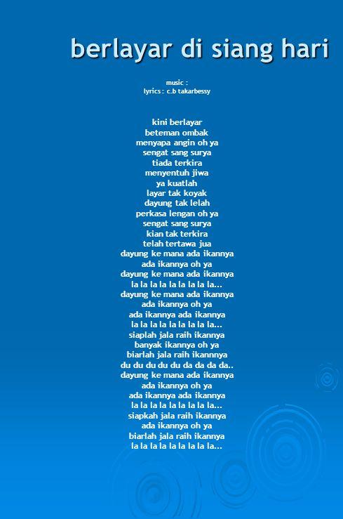 damai sentosa music : lyrics : tinggi gunung luas samud'ra alam raya bening air segar hawa subur dan makmur lintas esa seb'rang air mu nusantara sederhana rakyatnya sentosa hai singgahlah..