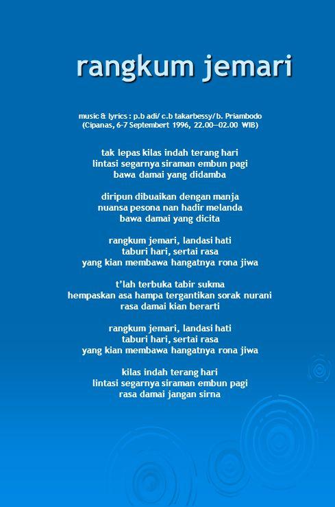 rangkum jemari music & lyrics : p.b adi/ c.b takarbessy/ b.