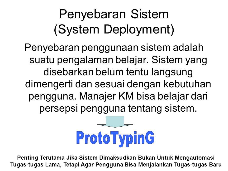 Pilot Deployment Sebelum sistem disebarkan ke seluruh organisasi, sebaiknya disebarkan ke kelompok kecil.