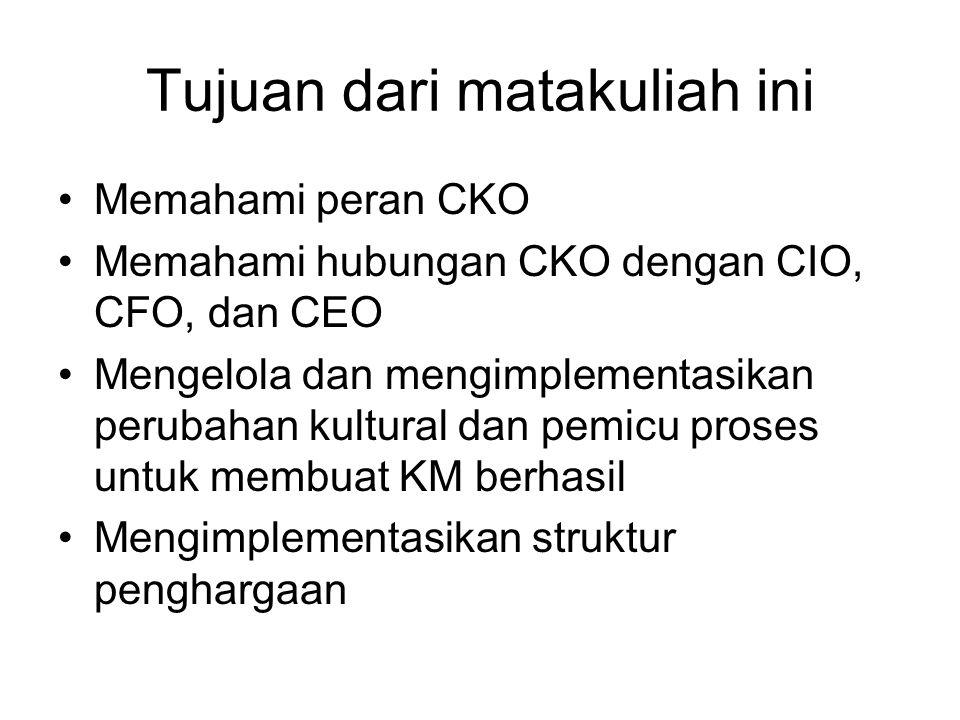 Tujuan dari matakuliah ini Memahami peran CKO Memahami hubungan CKO dengan CIO, CFO, dan CEO Mengelola dan mengimplementasikan perubahan kultural dan pemicu proses untuk membuat KM berhasil Mengimplementasikan struktur penghargaan