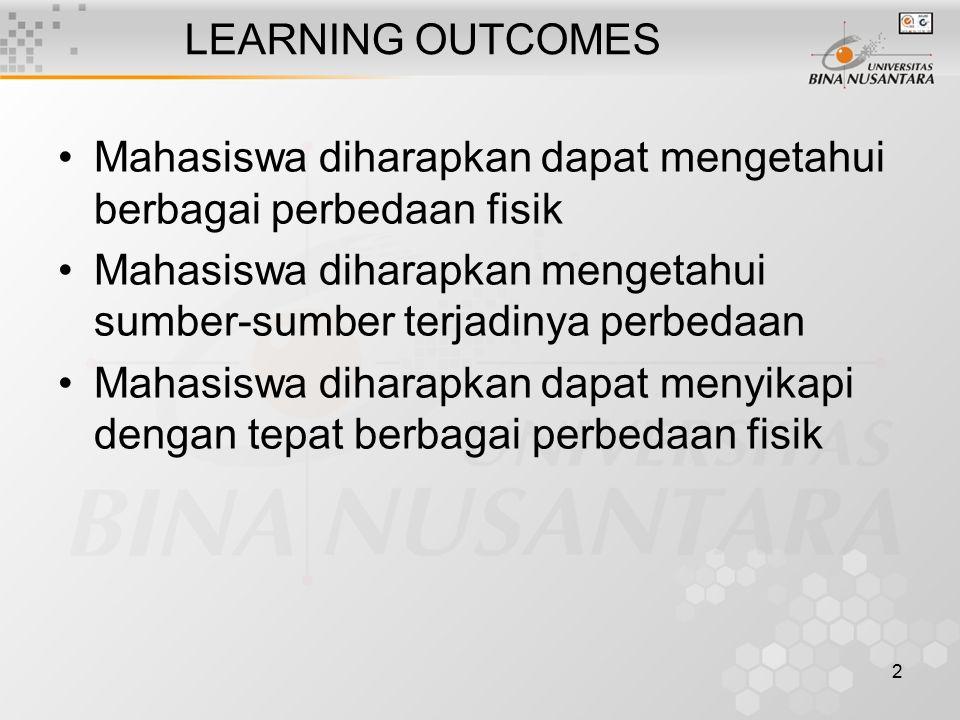 2 LEARNING OUTCOMES Mahasiswa diharapkan dapat mengetahui berbagai perbedaan fisik Mahasiswa diharapkan mengetahui sumber-sumber terjadinya perbedaan Mahasiswa diharapkan dapat menyikapi dengan tepat berbagai perbedaan fisik