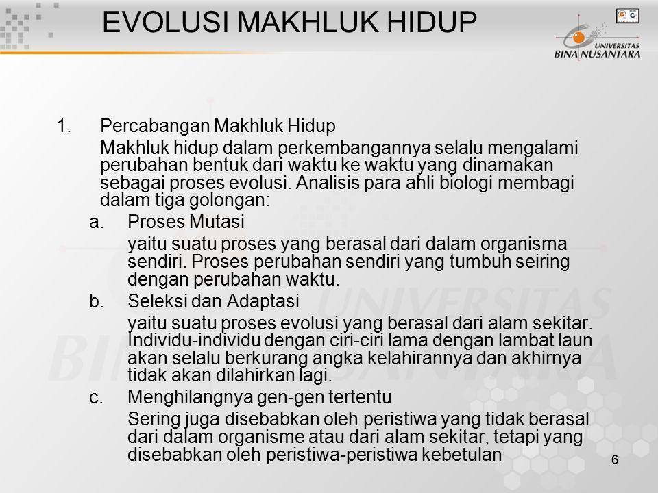 6 EVOLUSI MAKHLUK HIDUP 1.Percabangan Makhluk Hidup Makhluk hidup dalam perkembangannya selalu mengalami perubahan bentuk dari waktu ke waktu yang dinamakan sebagai proses evolusi.